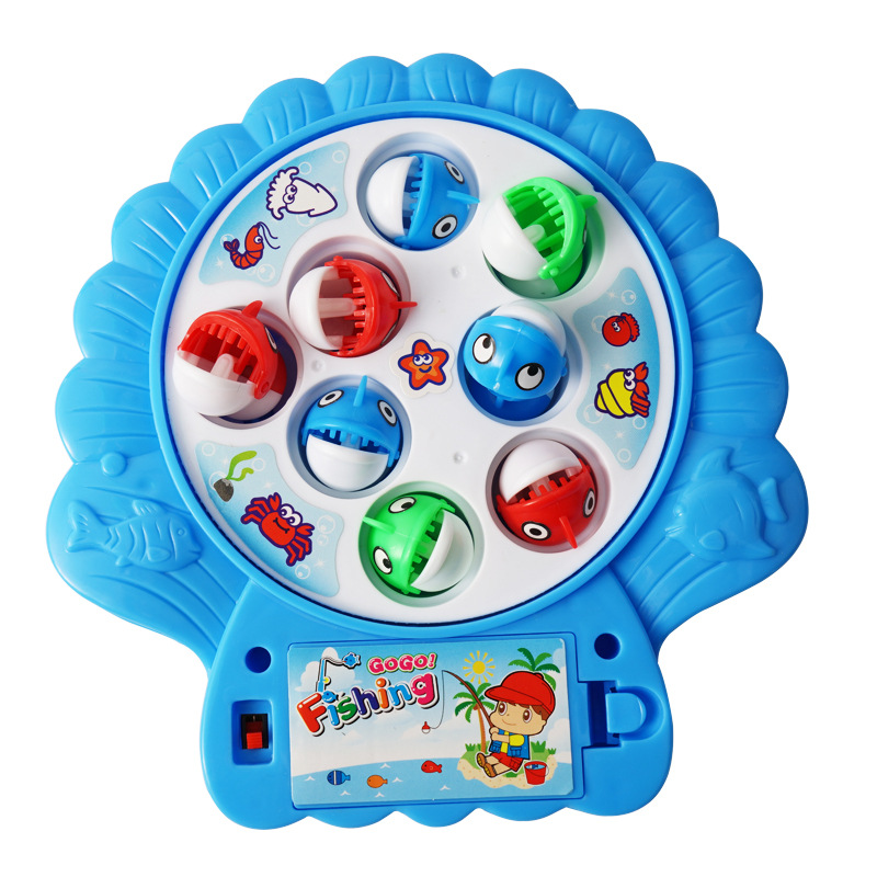 Customizable Fishing Game for Baby Gift Kids Plastic Games Electric 8 Fishes Fishing Toy with Music and Light