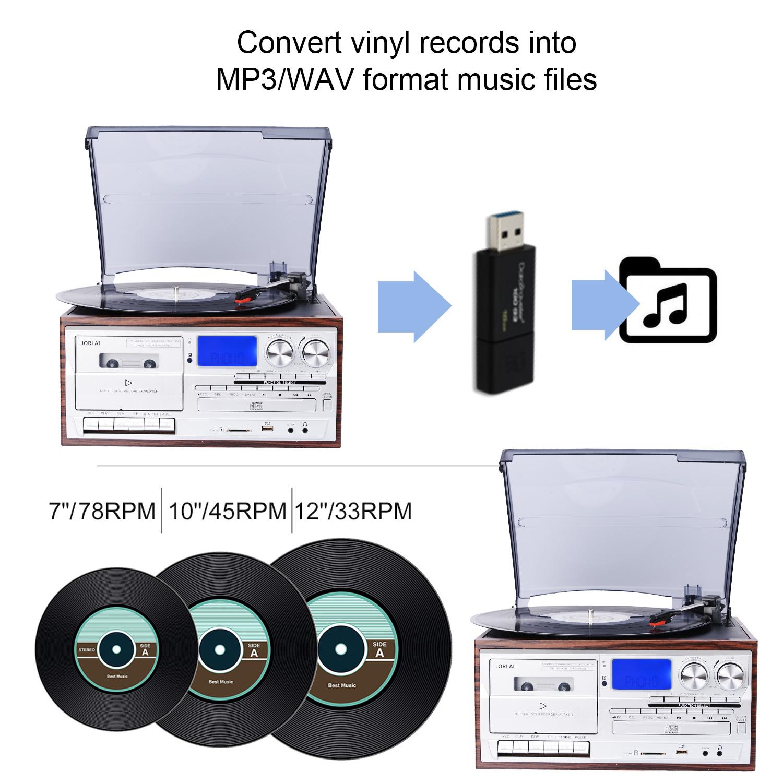 Проигрыватель с 3 скоростями, USB, SD, запись, FM, AM, радио, AUX вход