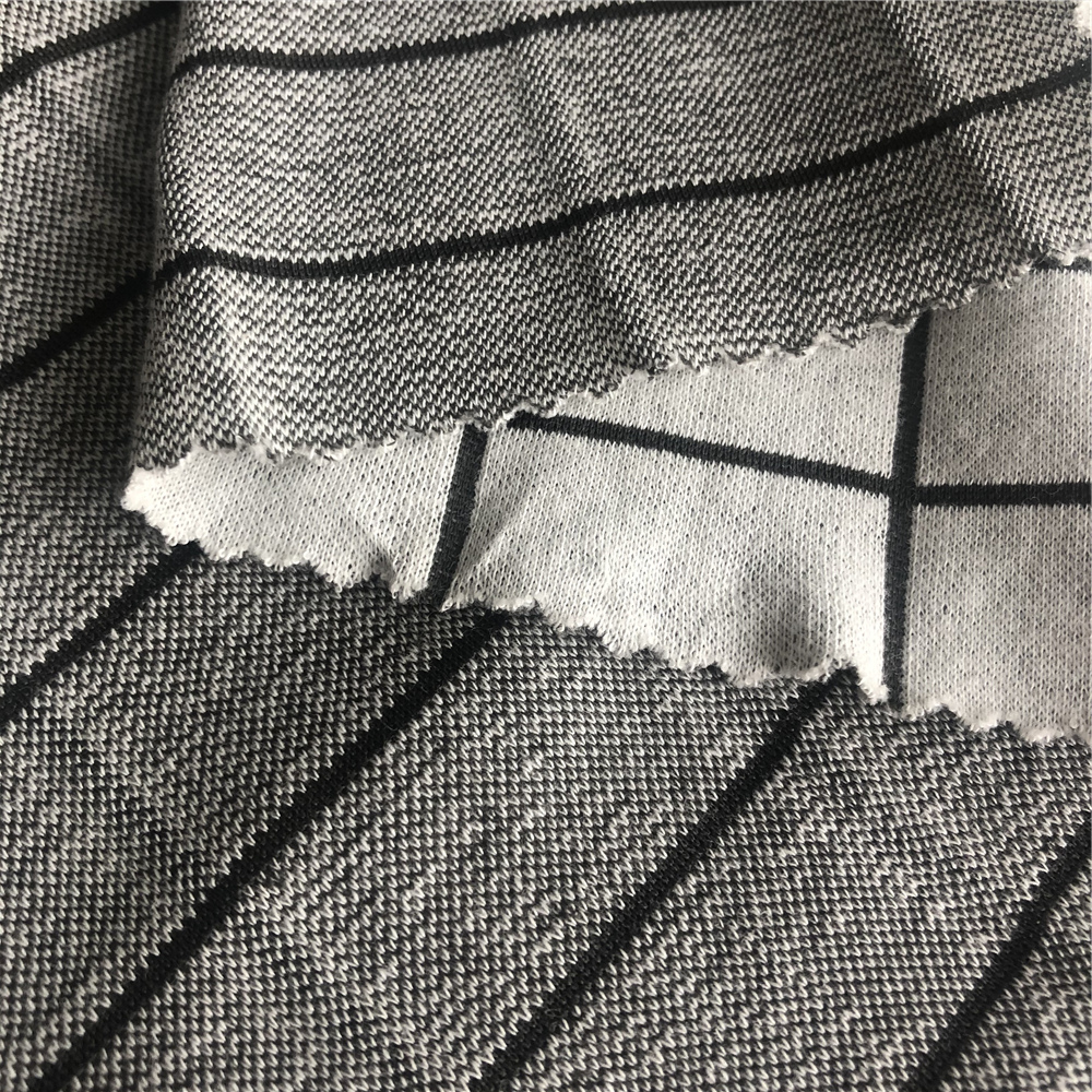72% cotton 28% bamboo charcoal yarn-dyed grid knit fabric