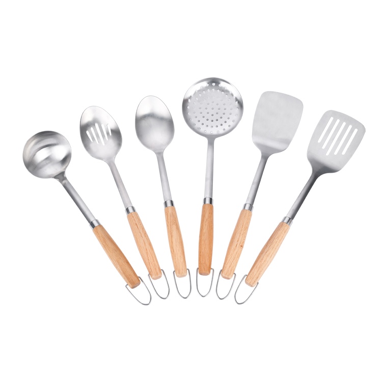 High Quality 6 piece With wood handle Stainless steel Kitchen utensils tools set turner spoon skimmer soup ladle