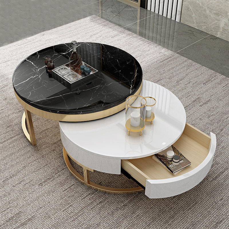 Modern Marble Stainless Steel Gold Wicker Clear Double Coffee Table With Wooden And White Glass View Double Coffee Table Calla Product Details From Foshan Calla Furniture Co Ltd On Alibaba Com