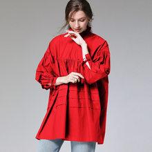 Женская плиссированная блузка XITAO, свободная Повседневная Блузка с открытой спиной, с длинным рукавом, размера плюс, на весну 2020, DMY2926(Китай)