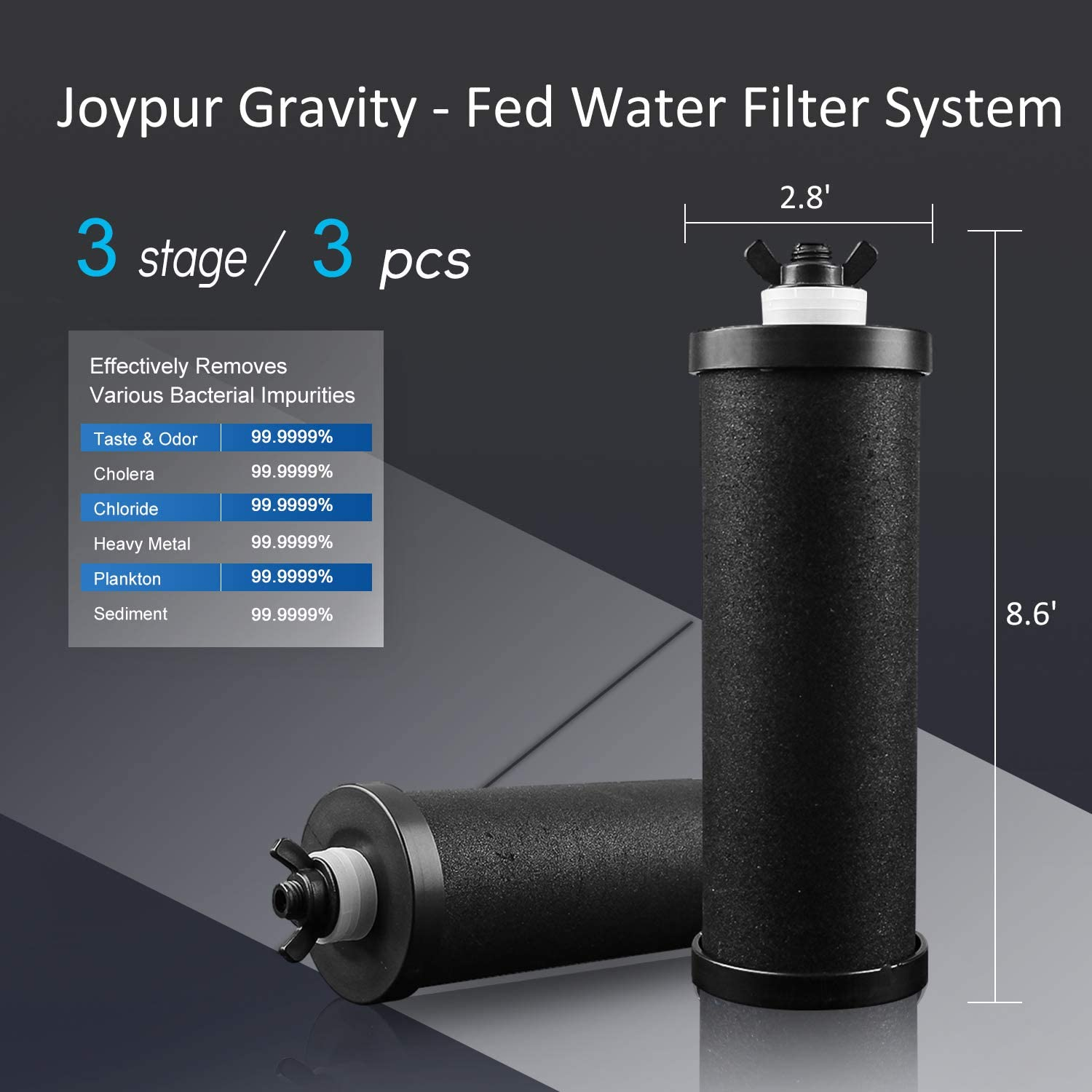 Purewell Pro Gravity-Fed Stainless steel Water Filtration with two elements Stainless Steel Water Purification System for home