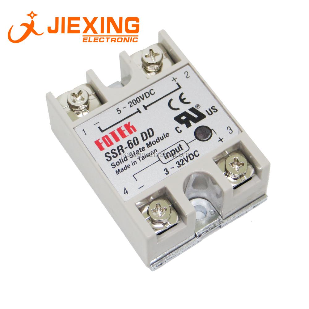 SSR-60DD 60A 3-32VDC вход 5-200VDC выход однофазный модуль реле постоянного тока в DC SSR