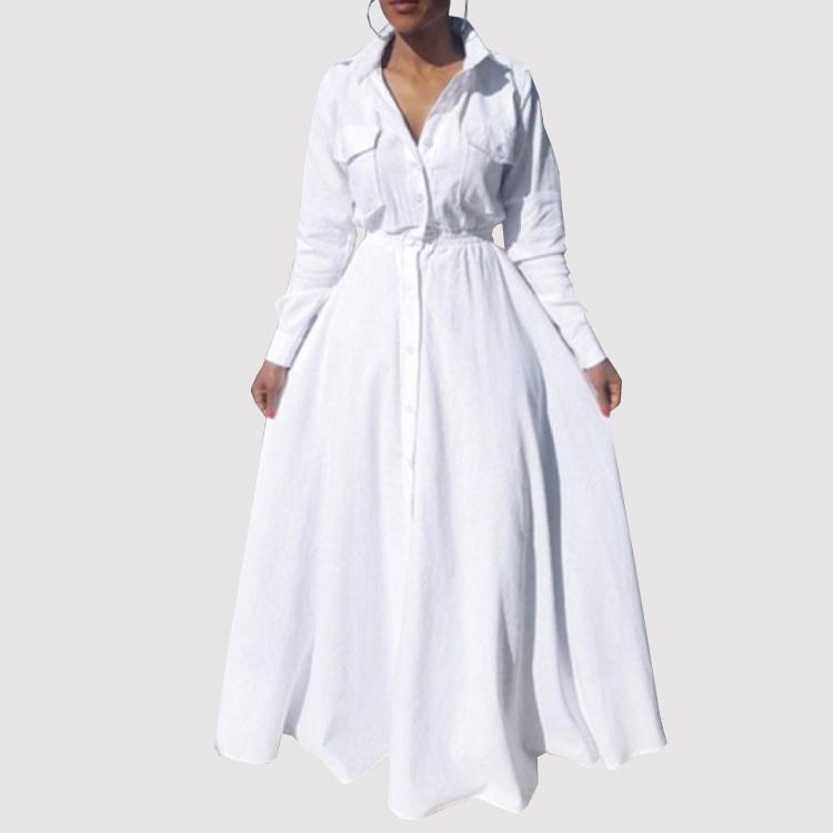 2019 Hot Autumn Long Sleeve Big Pendulum Shirt Dress White Plus Size Maxi Dress Long Ball Gown Dress - Buy Plus Size White Dress,Plus Size Tshirt ...