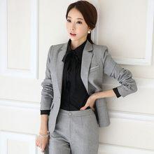 Офисный женский деловой костюм с юбкой, приталенный Блейзер с зубчатым воротником и юбкой, Женский Осенний наряд-униформа(Китай)