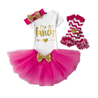 Custom Pretty 1 2 3 Years Old Baby Girls First Birthday Party Wear Puffy Dresses with Sequin Bow