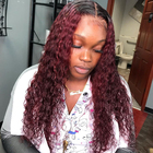Retail Online Shopping Many White Woman Best Love Deep Wave 1B 99J 4x4 Lace Closure Wig