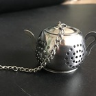 Strainer Tea Ball Strainer Teapot Shape Stainless Steel Loose Leaf Tea Infuser Ball Strainer With Chain And Drip Trays