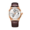Rose case, white dial, brown leather