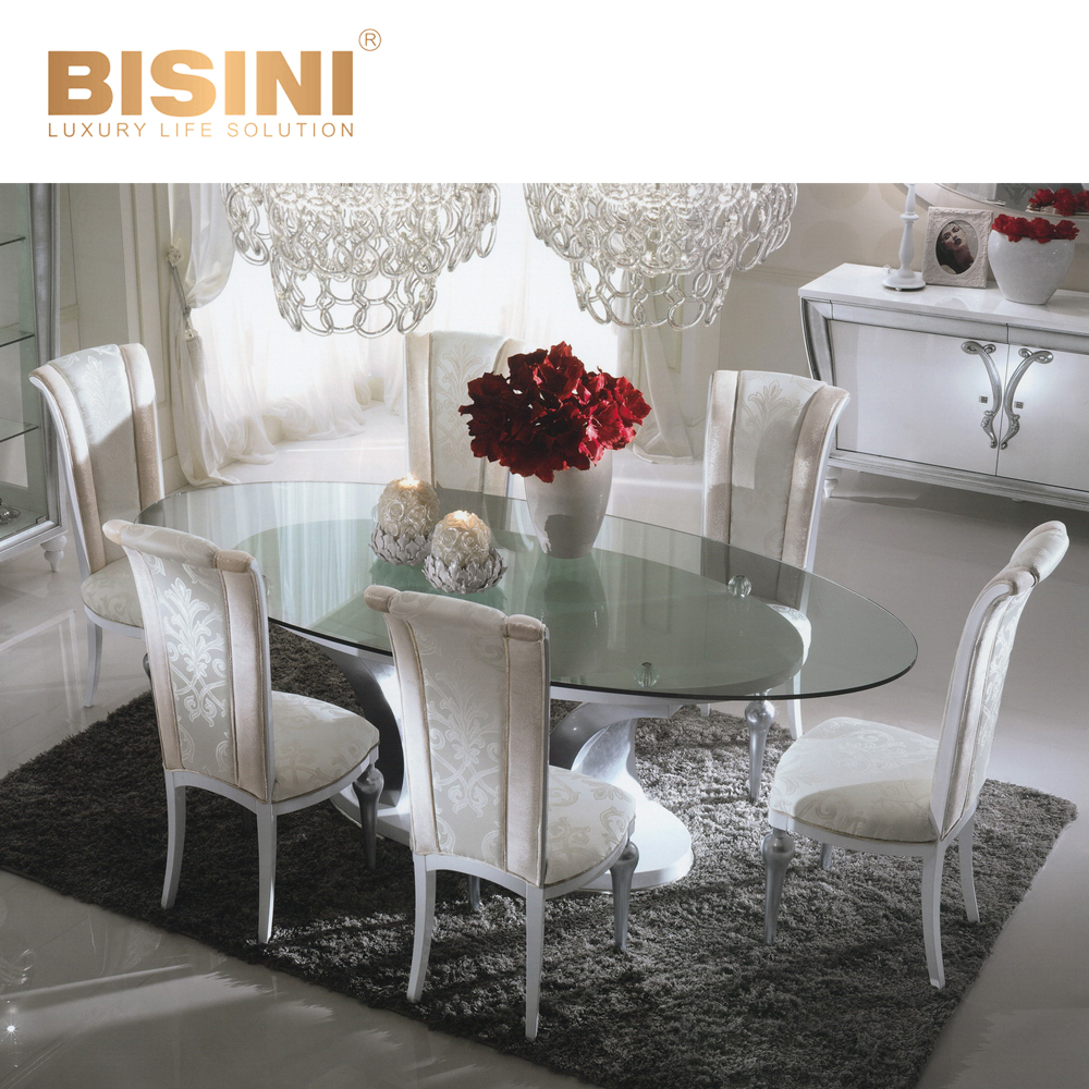 Neoclassic Hot Selling Oval Dining Table With Glass Top Dining ...