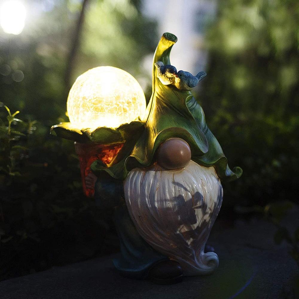 Наружные зимние украшения из смолы, садовая статуя гнома, переноска волшебного шара с солнечными светодиодными лампами