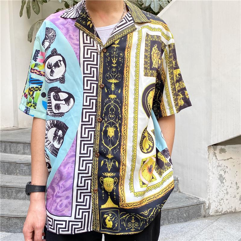 OEM Custom Logo Casual Street Printed Short Sleeve Shirt Men 2021 Hawaii Beach Oversize Women Fashion Harujuku Shirts for Men