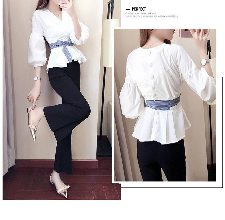 S-3XL Women Korean Summer Office 2 Piece Set V-neck Lantern Sleeve Bow Striped Blouse Shirt + Split Pencil Flare Pant SET 15%