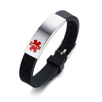 Yiwu Aceon Stainless Steel Soft Rubber Silicone Adjustable Band ID Tag Engraved Red Medical Alert Bracelet