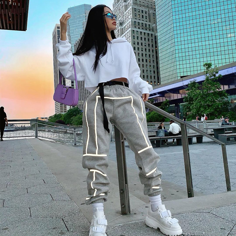 Wholesale Women Reflective Cotton Joggers