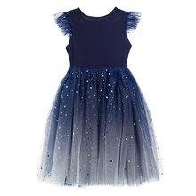 Свадебные Платья с цветочным узором для девочек; Элегантные бальные платья с градиентом Королевского синего цвета; Платье принцессы с блес...(Китай)
