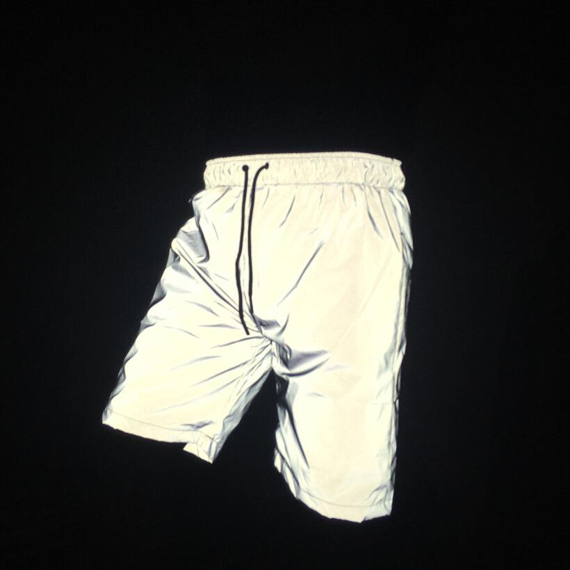 Hot style streetwear pants elastic waistband mens 3m sliver reflective shorts