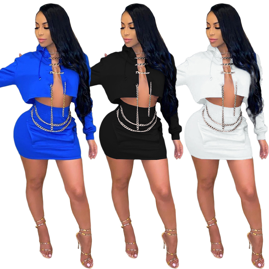 M7553 Trendy chain crop top with skirts two piece skirt set fashion outfit spring womens clothing 2021