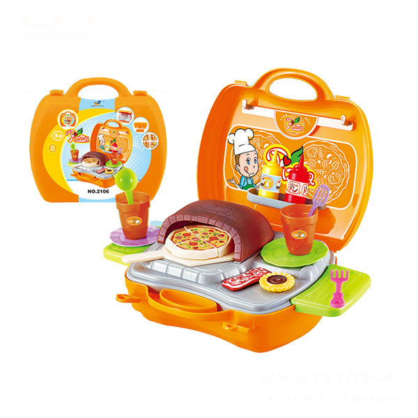 Cooker Role Play Colorful Food Toy Portable Package Suitcase Pizza Cooking Kitchen Toy