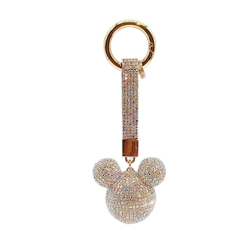 Diamond bowknot Mickey car key chain lovely couple love key chain