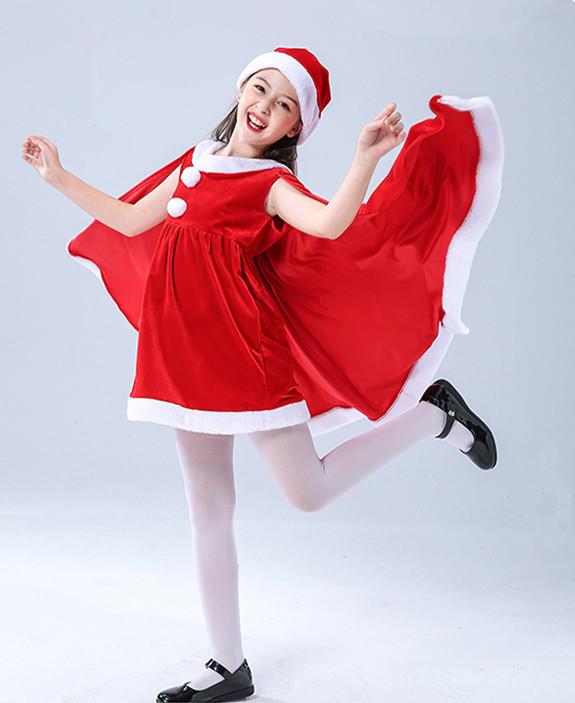 Amazon/Лидер продаж; Рождественский костюм Санта-Клауса для костюмированной вечеринки; Костюм с красной курткой для девочек