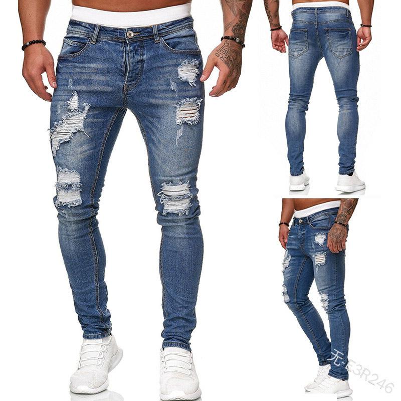 baggy jeans slim-fit denim trousers, men fashion jeans Mens distressed jeans