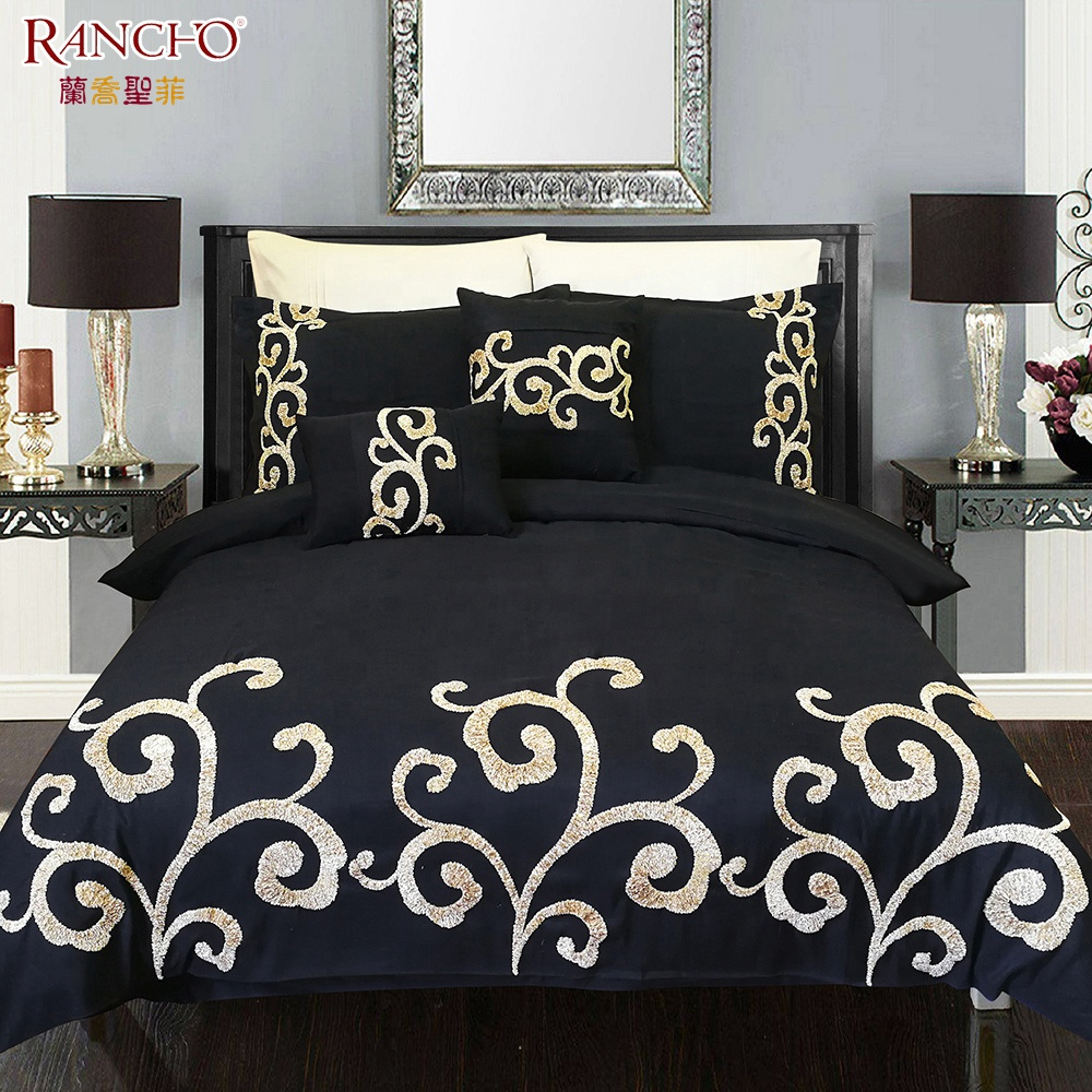 New design 100% polyester fibre home luxury king size embroidery quilt bedsheet bedding set