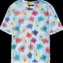 Elfsack Harajuku синий Цветочный принт Повседневное Fishinet сетчатые футболки Для женщин 2020 летнее бело-серые в Корейском стиле; Милая женская обувь н...(China)