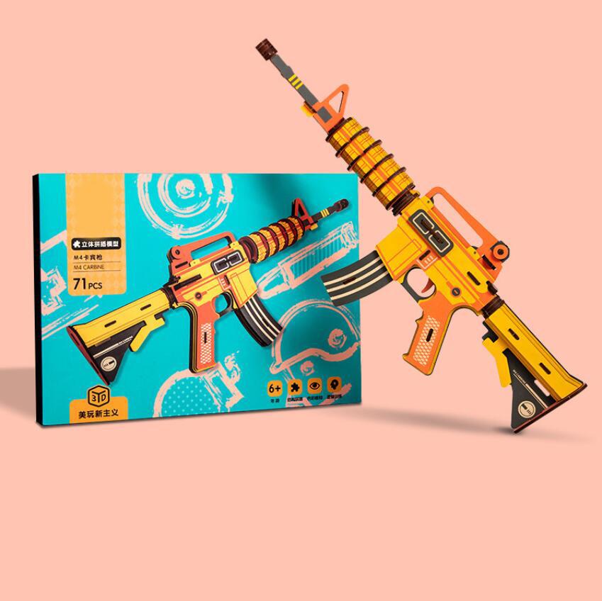 Творческие дети деревянный 3D пистолет головоломки игрушки изготовленные на заказ пистолет головоломка