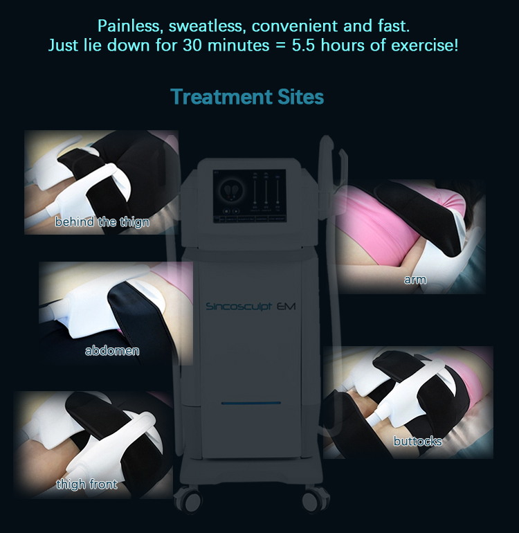 Factory supply Newest 5 Handles Sincosculpt EM Body Sculpting Slimming Build Muscle Burn Fat Weight Loss Machine with for salon