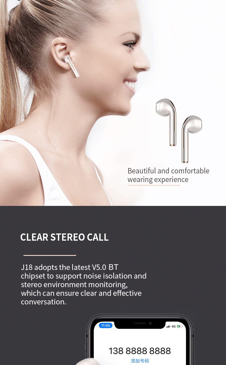Factory Wholesale Wireless Earphones Earbuds Headphone Mobile Phones HiFi Clear Sound Quality