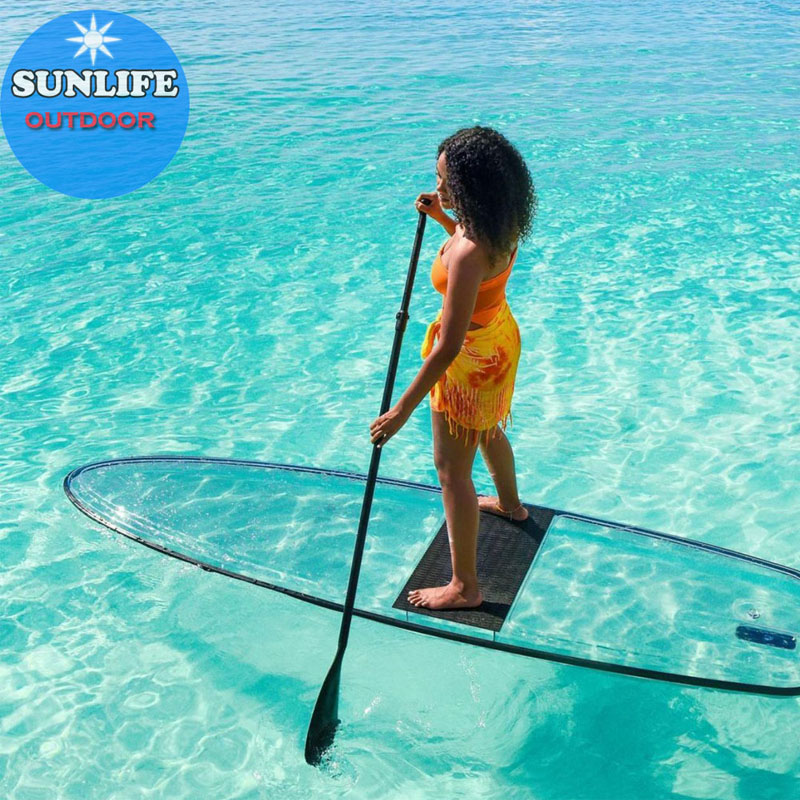 2020 New Style Wholesales Lexan Transparent Clear Paddle board transparent SUP with paddles and Foot leash