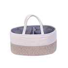 Diaper Bag Baby Diaper Cotton Basket Collapsible Baby Diaper Organizer Bag Cotton Rope Basket For Diaper Large Car Travel Tote Bag