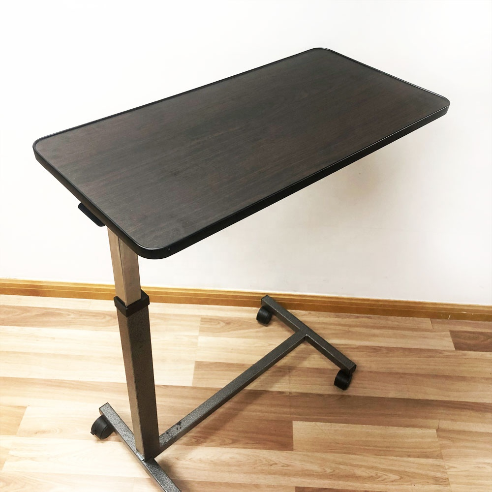 wooden adjustable over bed table hospital overbed table swivel top