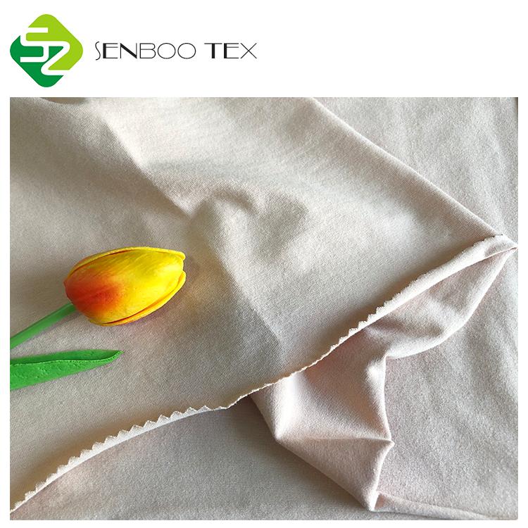 Неотбеленная 95 органический хлопок 5 спандекс трикотажная ткань для укороченного бюстгальтера/женская пижама