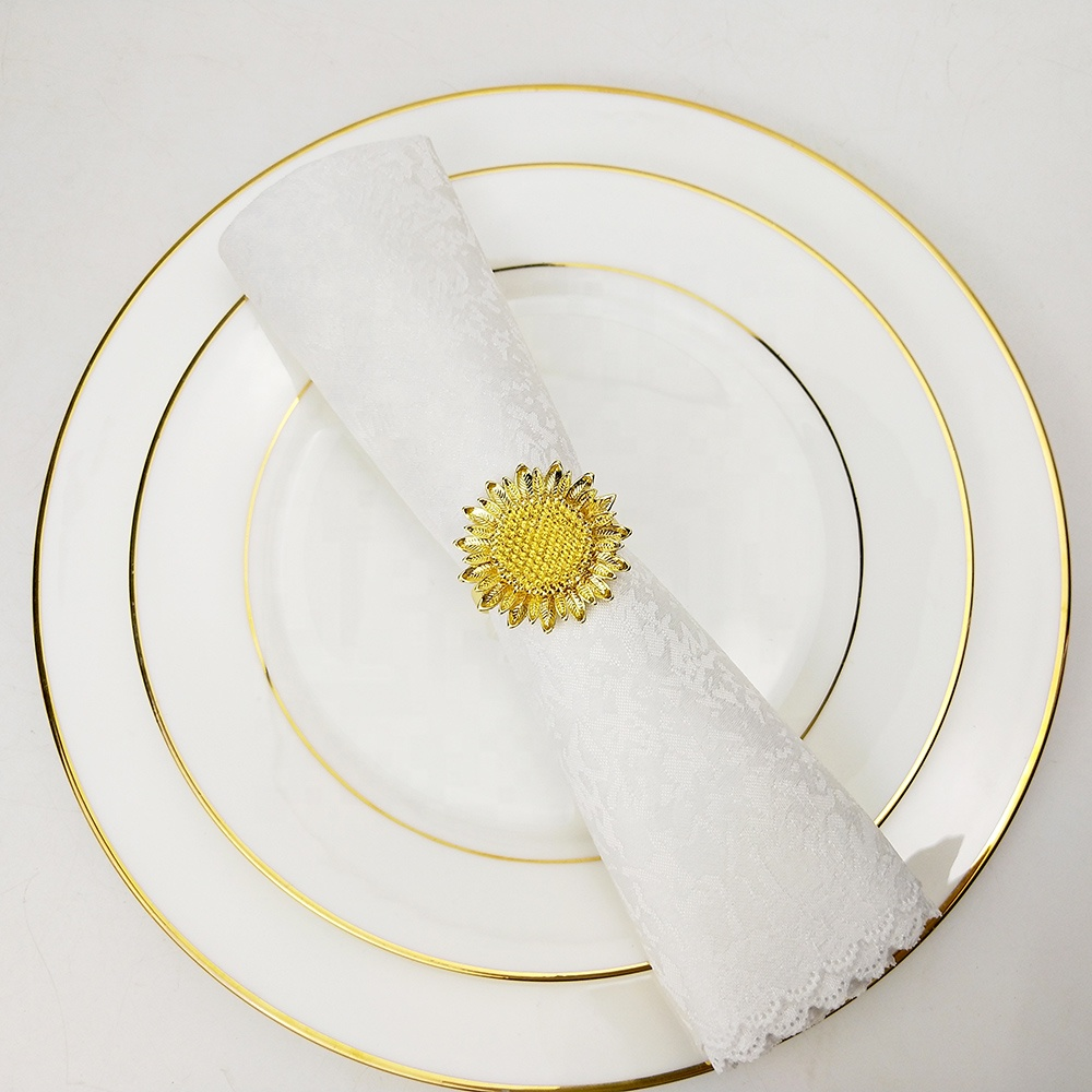 decorative sunflower napkin rings with different color available