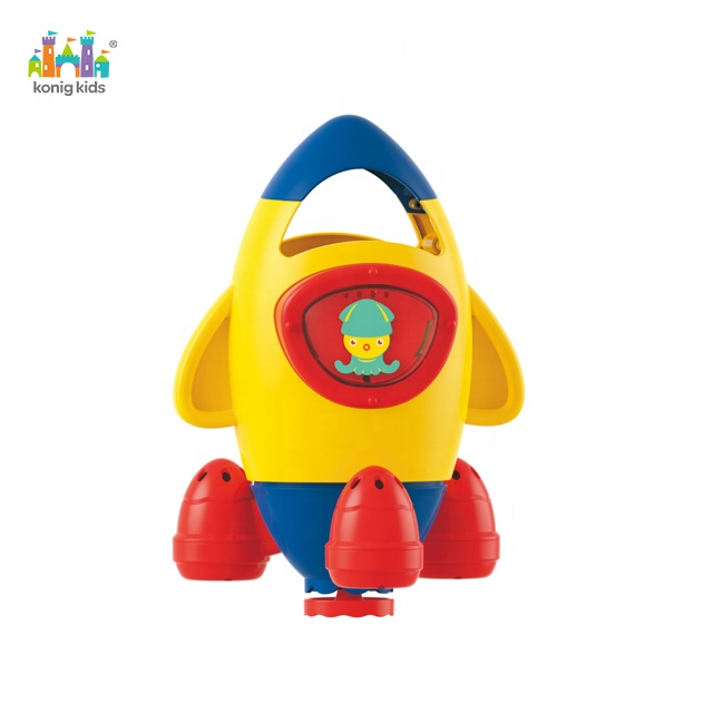 2020 Konig Kids Popular High Quality Water Power Rotating Rocket Purling Shower Play Set Baby Water Bath Toy