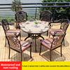 9-4 стула 2 вращающееся кресло 1 керамическая плитка белого цвета стол D80cm