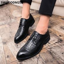 Итальянская мужская обувь в деловом стиле; Кожаные Туфли-броги с острым носком; Мужская классическая Свадебная обувь; Обувь под крокодилову...(China)
