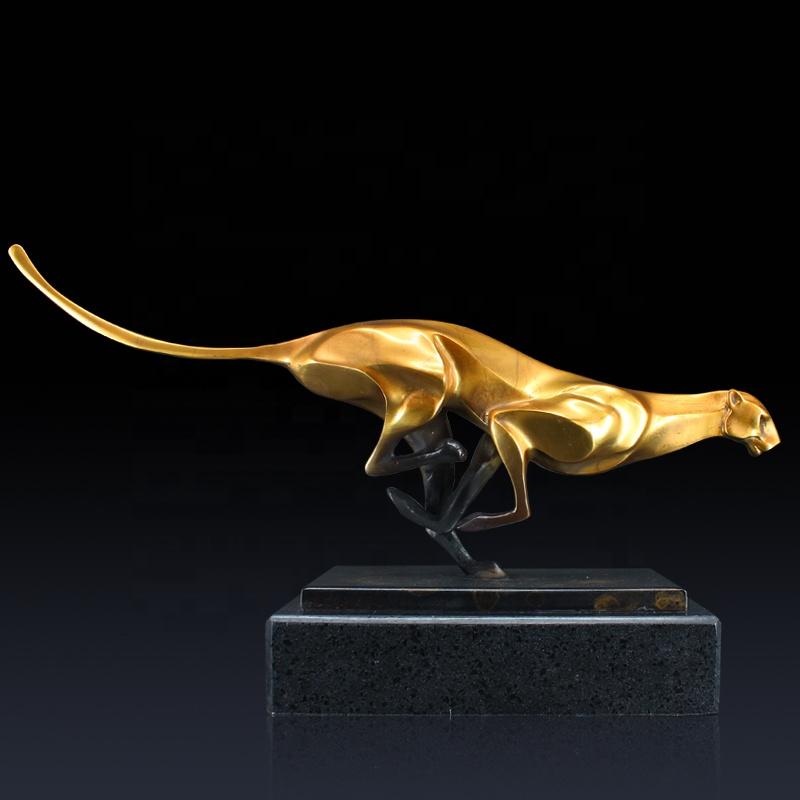Лидер продаж бегущая леопардовая бронзовая скульптура домашний декор леопардовая статуя