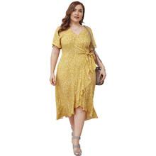 Платье размера плюс, лето 2020, богемное пляжное платье с v-образным вырезом, сексуальные тонкие вечерние платья в стиле ретро, элегантное женс...(Китай)