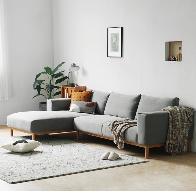 Northern Europe  contemporary and contracted sitting room small family model  expensive imperial concubine  grey fabric sofa
