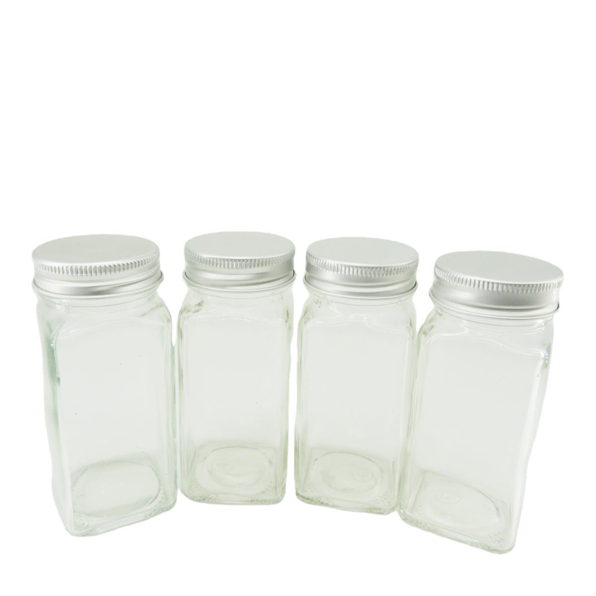 Квадратные стеклянные бутылки для специй 4 унции стеклянная банка для специй с серебряными металлическими крышками шейкер Топы Оптовая продажа банка для приправ