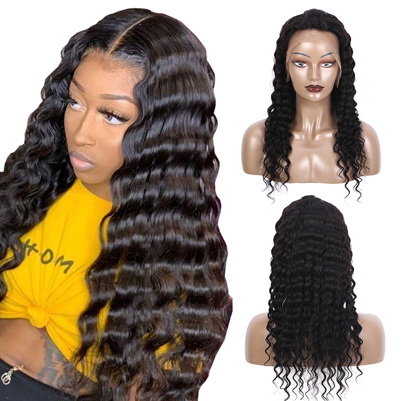 Nactural color Human Hair Wigs Deep Wave Full Lace Wigs For Women 12-20inch Remy Hair Wigs Brown Lace