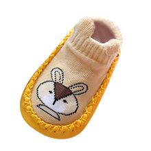 Зимняя хлопковая обувь для новорожденных; Нескользящие носки с рисунками животных для маленьких девочек и мальчиков; Нескользящие удобные ...(China)