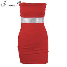 Женское облегающее мини-платье, без бретелек, с блестками, для вечеринок, simenual, 2020(Китай)