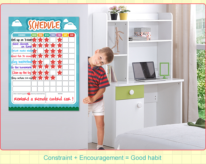 Customized Magnetic Chores Responsibility Chart for Kids Dry Erase Reward Chart