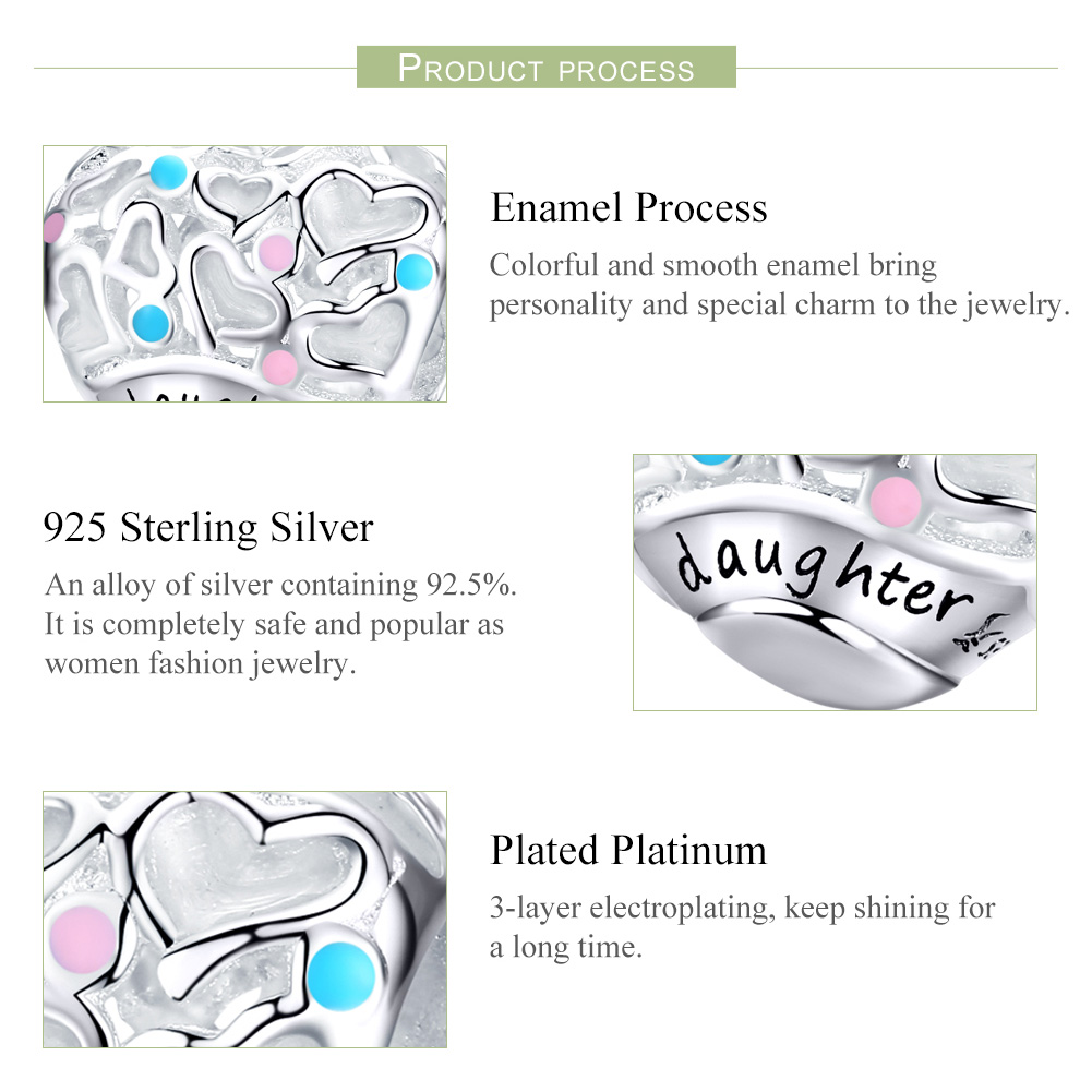Custom Personnalized Love Heart Daughter 925 Sterling Silver Engraved Metal Beads For Jewelry Making