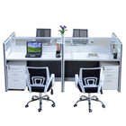 Work Table 2 Seats Workstation Call Center 2 Person Work Station Wooden Staff Working Table